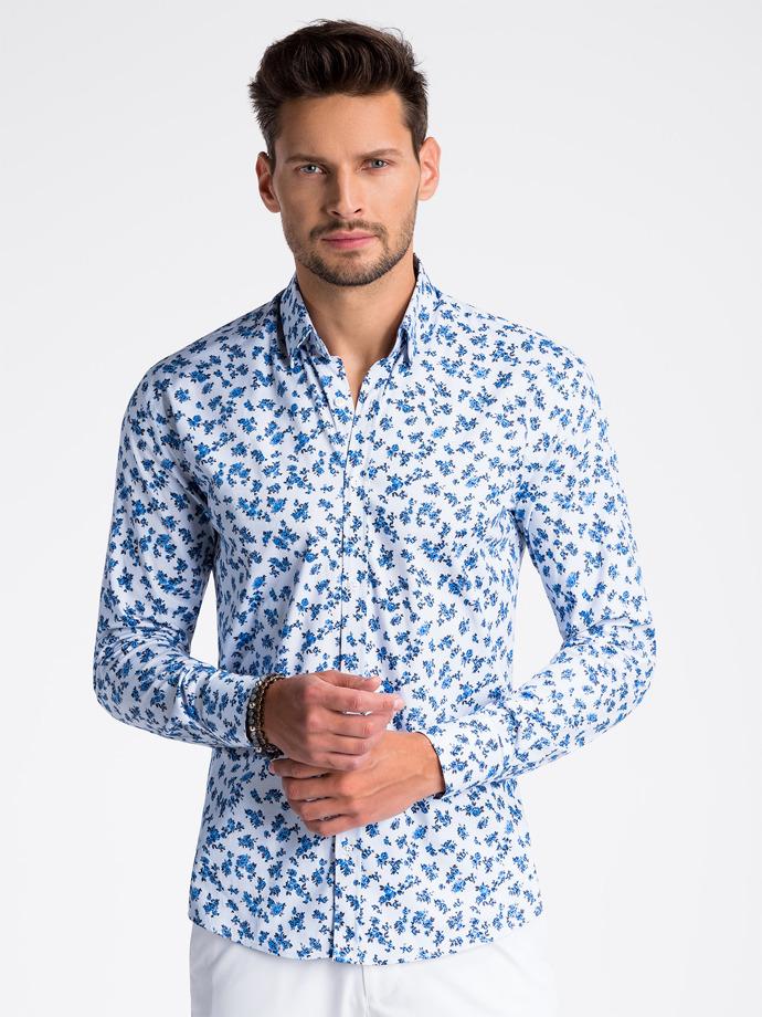 Koszula męska elegancka zdługim rękawem K501 - biała/niebieska