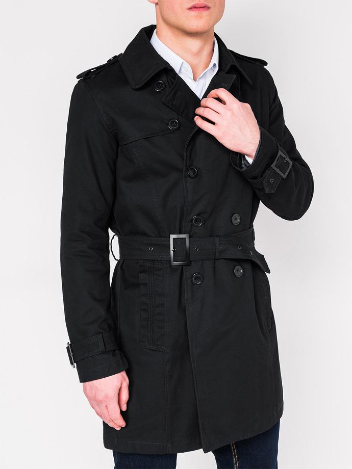 Płaszcz męski Trencz C346 - czarny