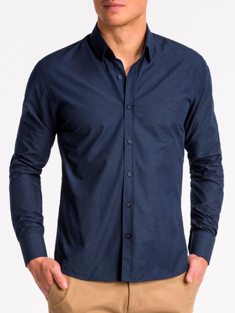 Koszula męska elegancka zdługim rękawem K468 - granatowa/brązowa
