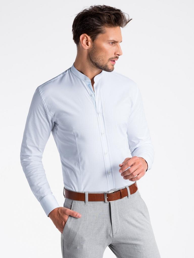 Koszula męska elegancka zdługim rękawem K497 - biała