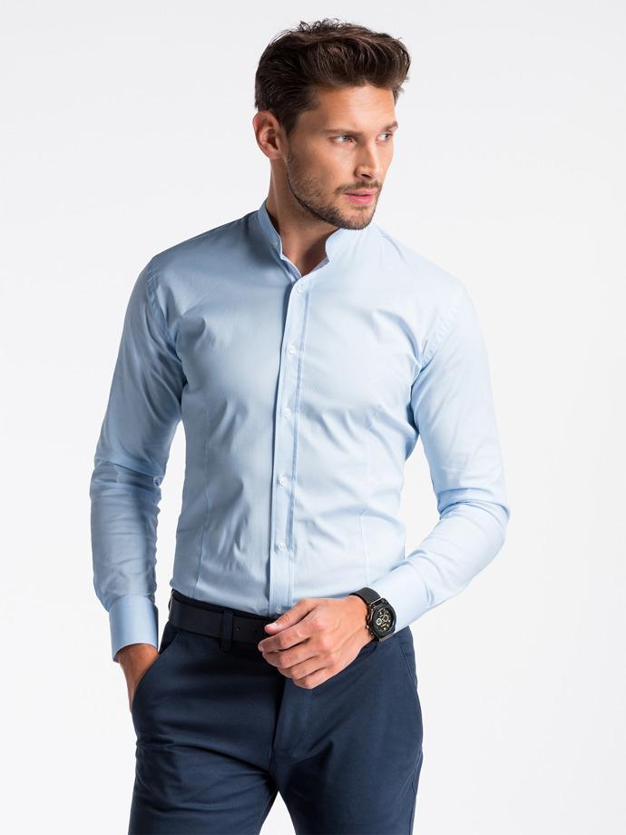 Koszula męska elegancka zdługim rękawem K497 - błękitna