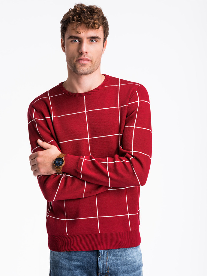 Sweter męski E163 - bordowy