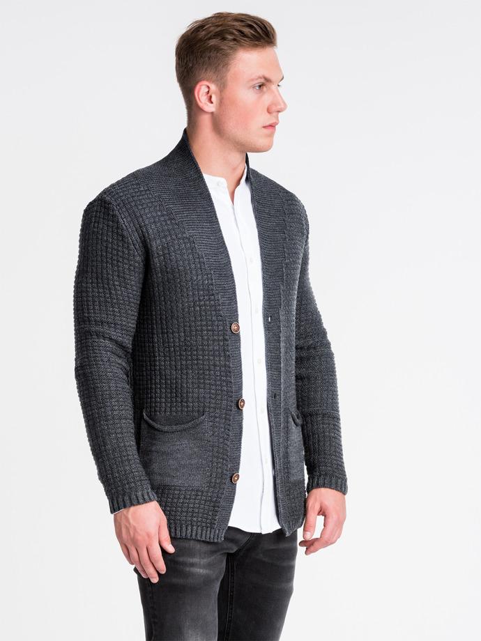 Sweter męski rozpinany E164 - grafitowy