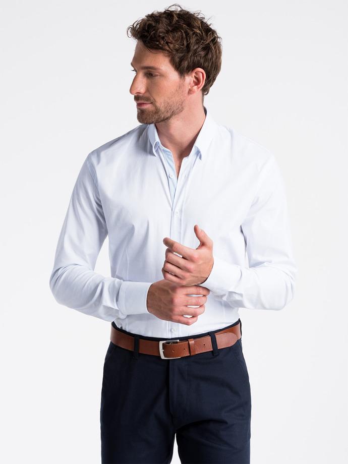 Koszula męska elegancka zdługim rękawem K496 - biała