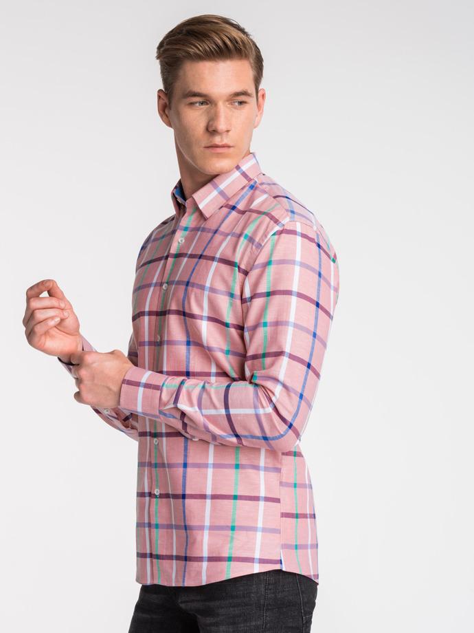 Koszula męska wkratę zdługim rękawem K493 - różowa