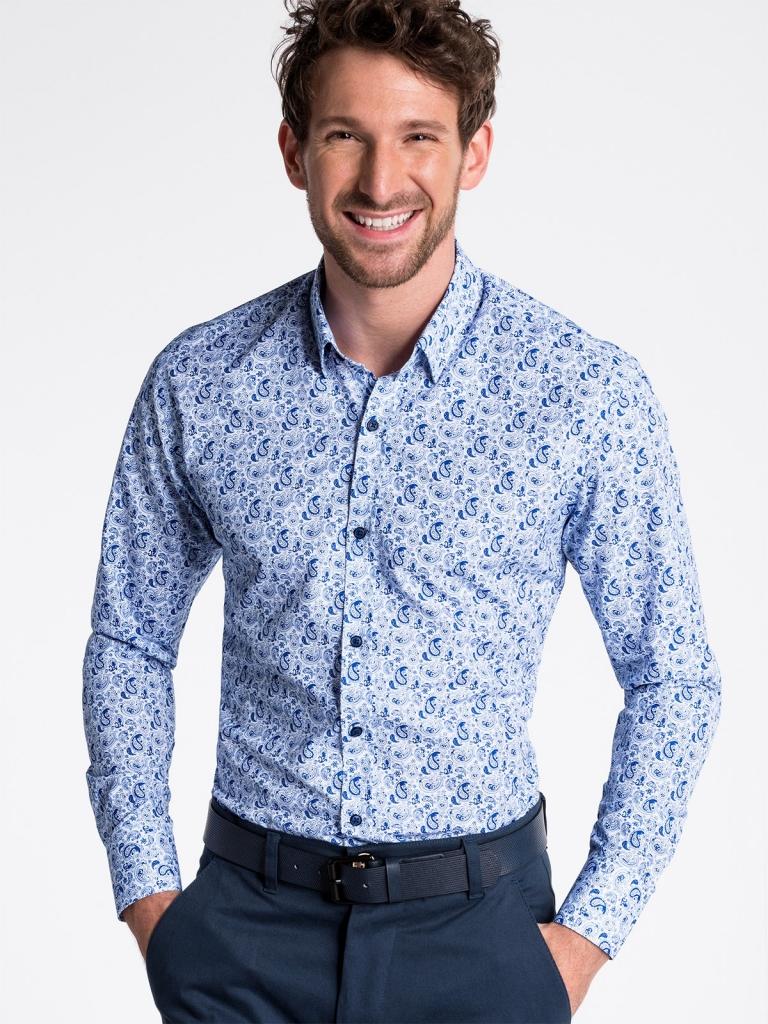 Koszula męska zdługim rękawem K476 - biała/niebieska