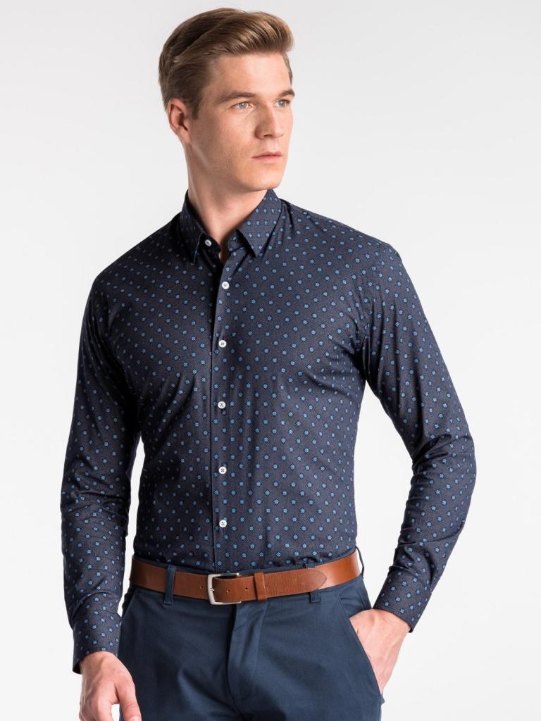 Koszula męska zdługim rękawem K494 - jasnogranatowa