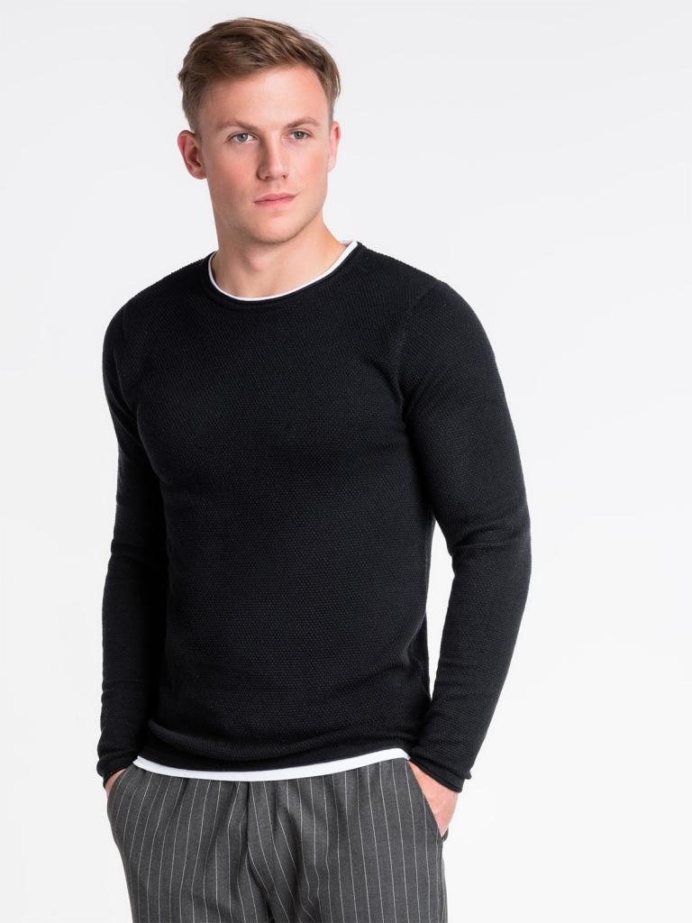 Sweter męski E121 - czarny