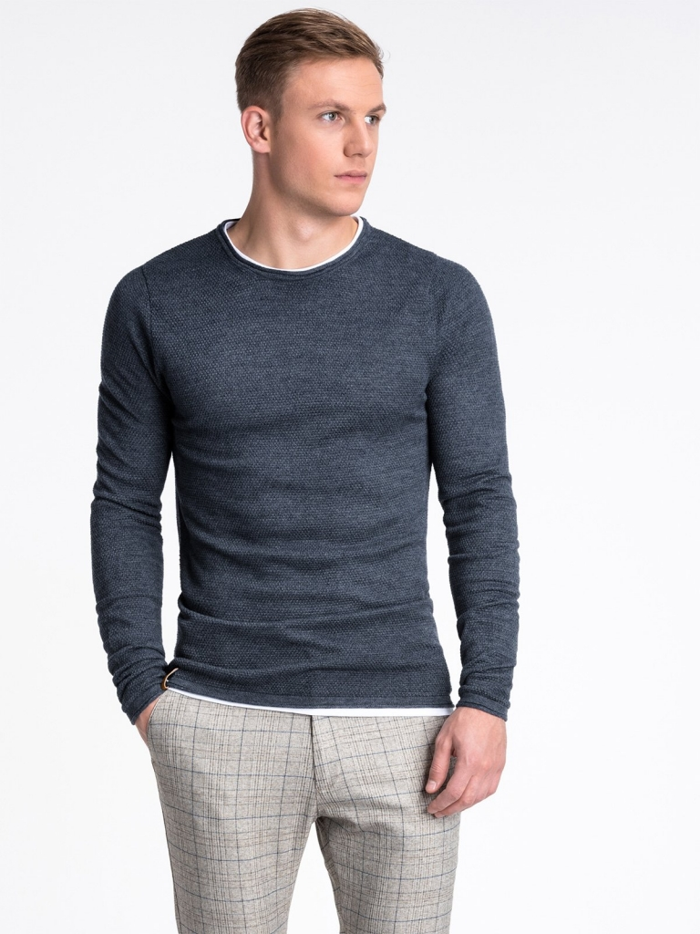 Sweter męski E121 - granatowy/melanżowy