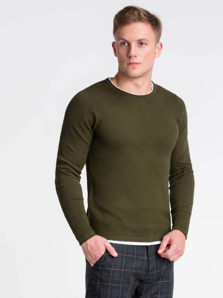 Sweter męski E121 - khaki
