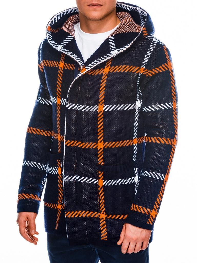 Sweter męski rozpinany E161 - ciemnogranatowy