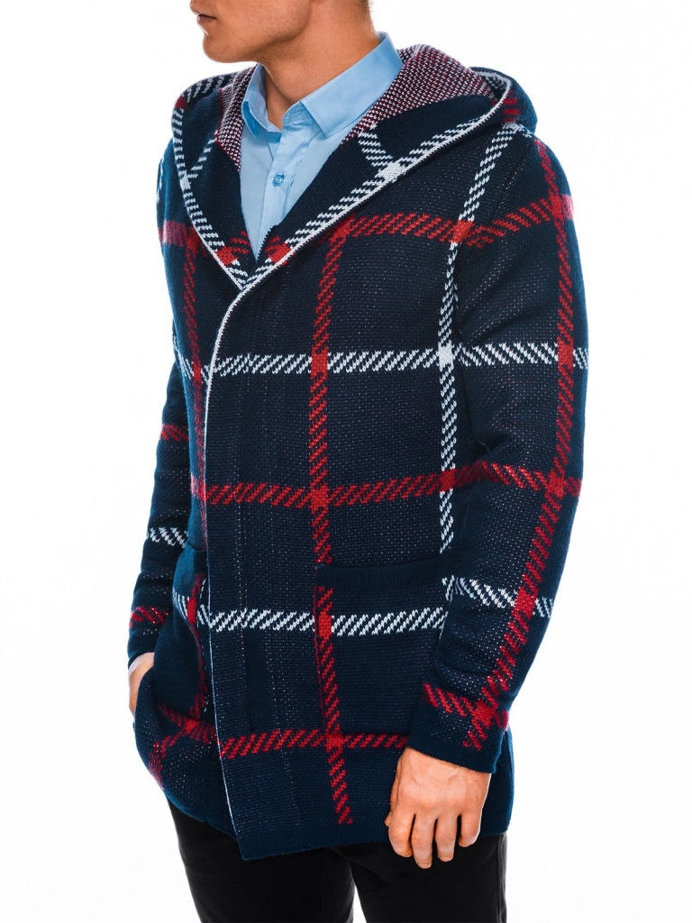 Sweter męski rozpinany E161 - indygo