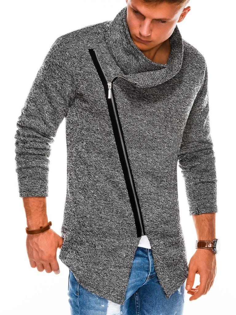 Sweter męski rozpinany E174 - czarny