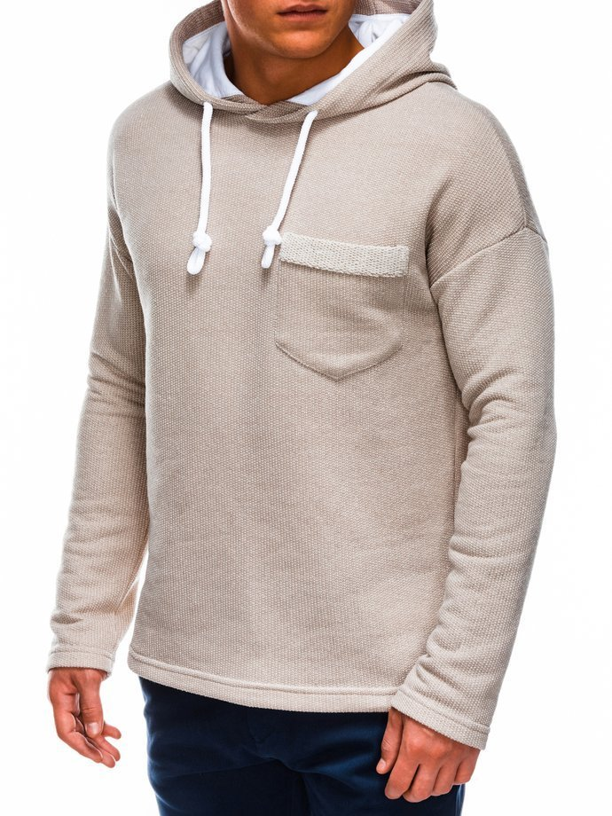 Bluza męska zkapturem B963 - beżowa