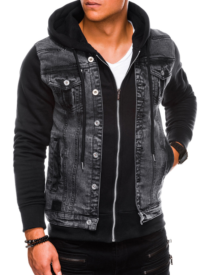 Kurtka męska jeansowa C322 - czarna
