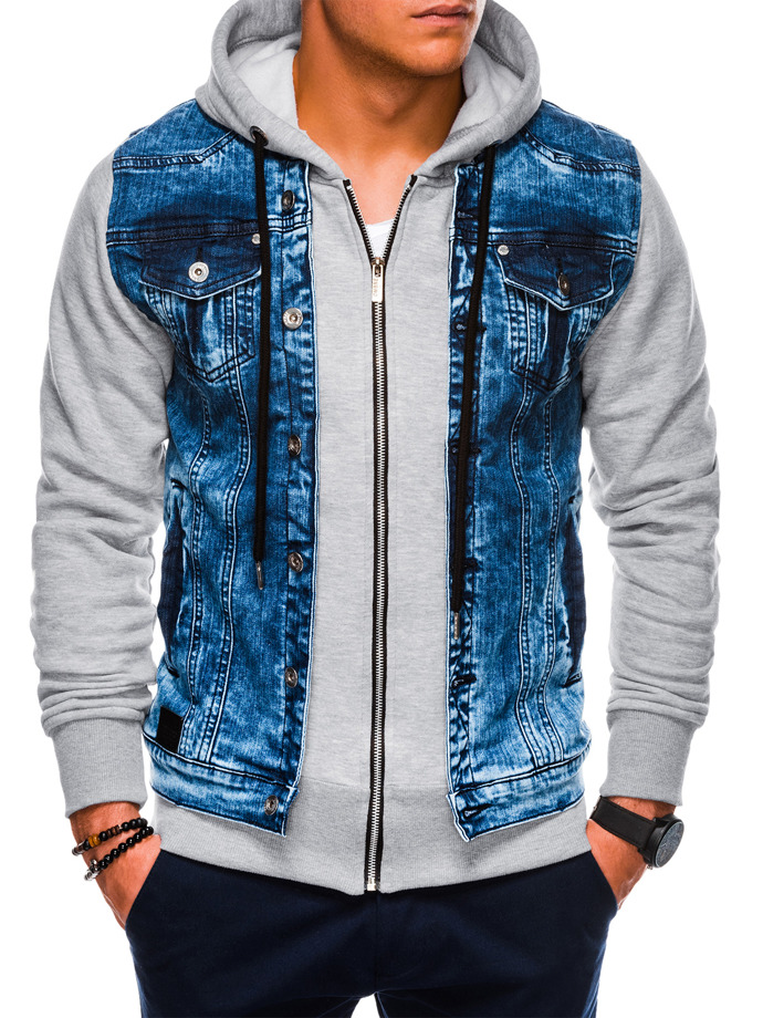 Kurtka męska jeansowa C322 - jeans/szara