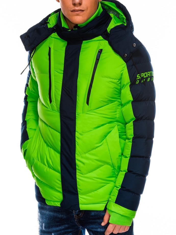 Kurtka męska zimowa pikowana C417 - zielona
