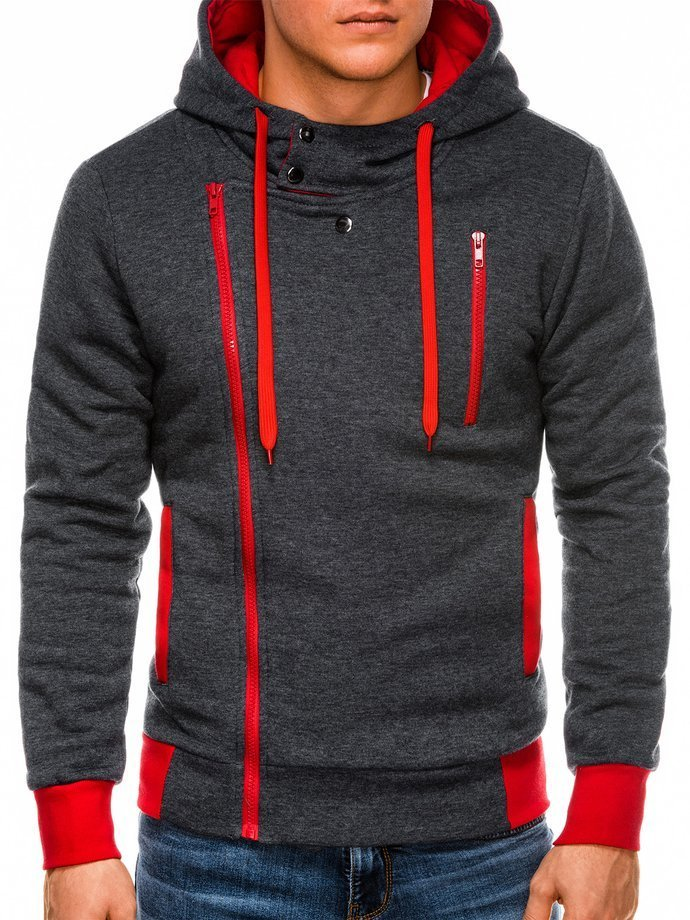 Bluza męska rozpinana zkapturem B297 - grafitowa/czerwona