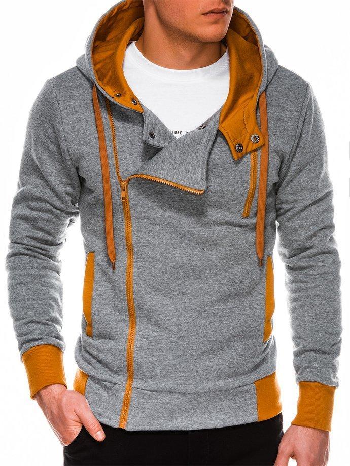 Bluza męska rozpinana zkapturem B297 - szara/ruda