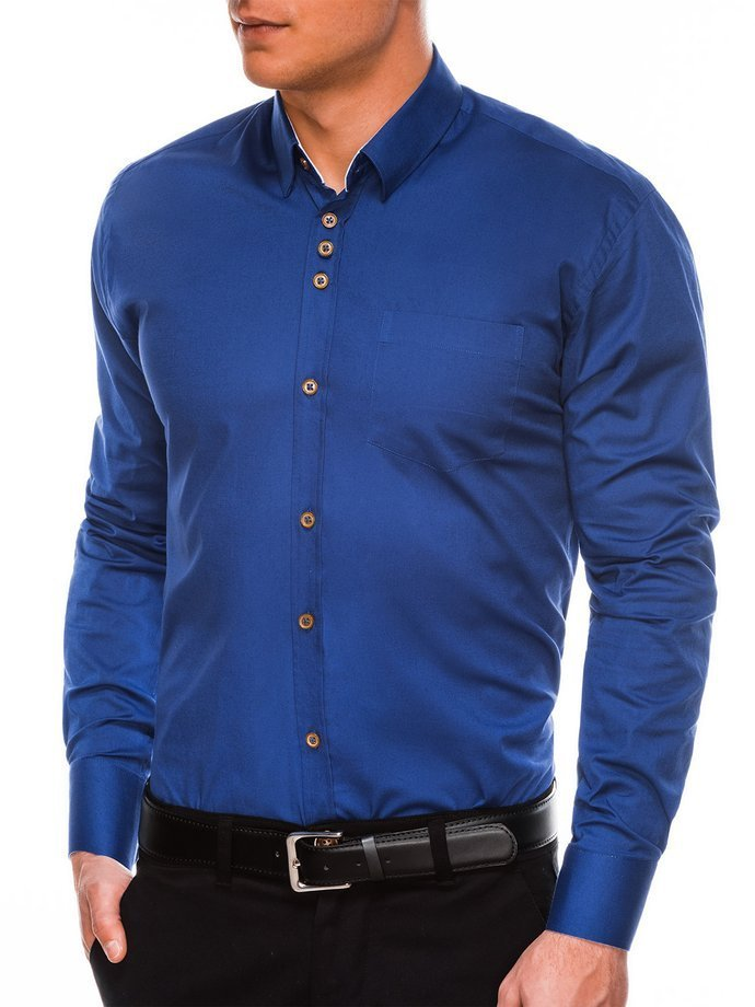 Koszula męska elegancka zdługim rękawem K302 - jasnogranatowa