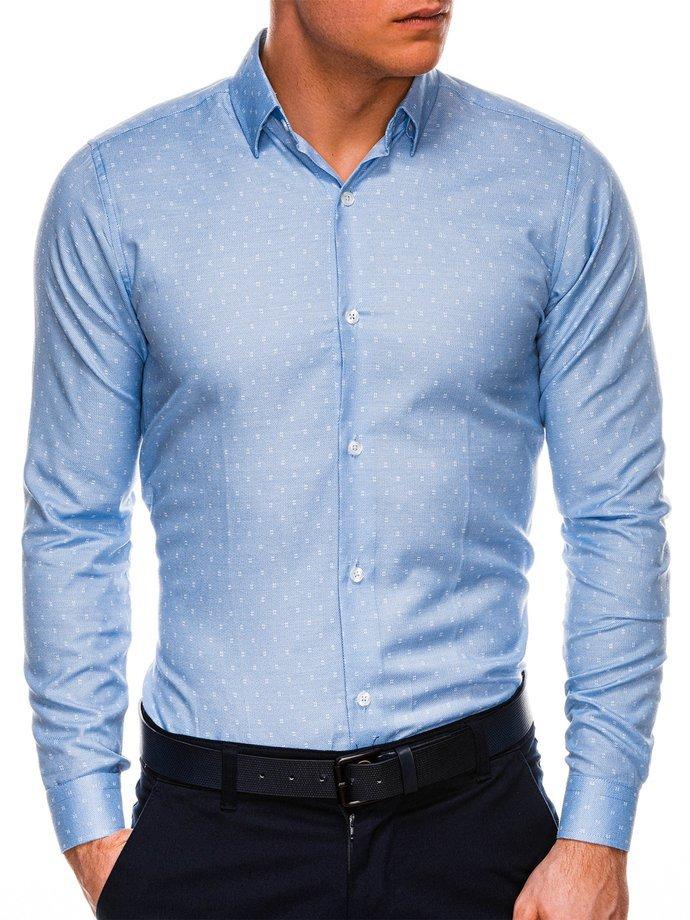 Koszula męska elegancka zdługim rękawem K528 - błękitna