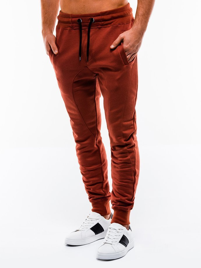 Spodnie męskie dresowe P867 - ceglaste