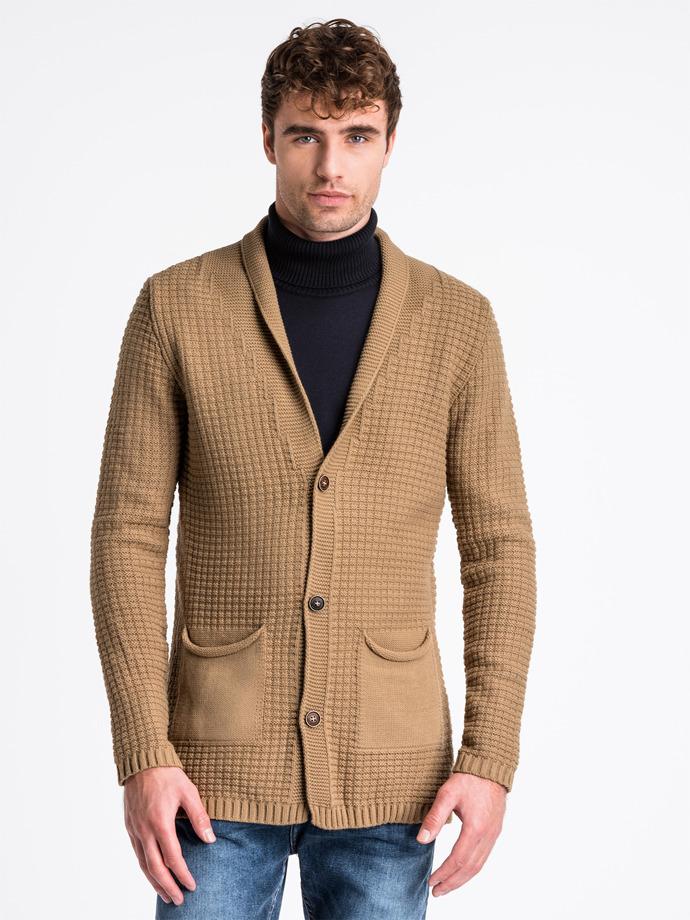 Sweter męski rozpinany E164 - camel