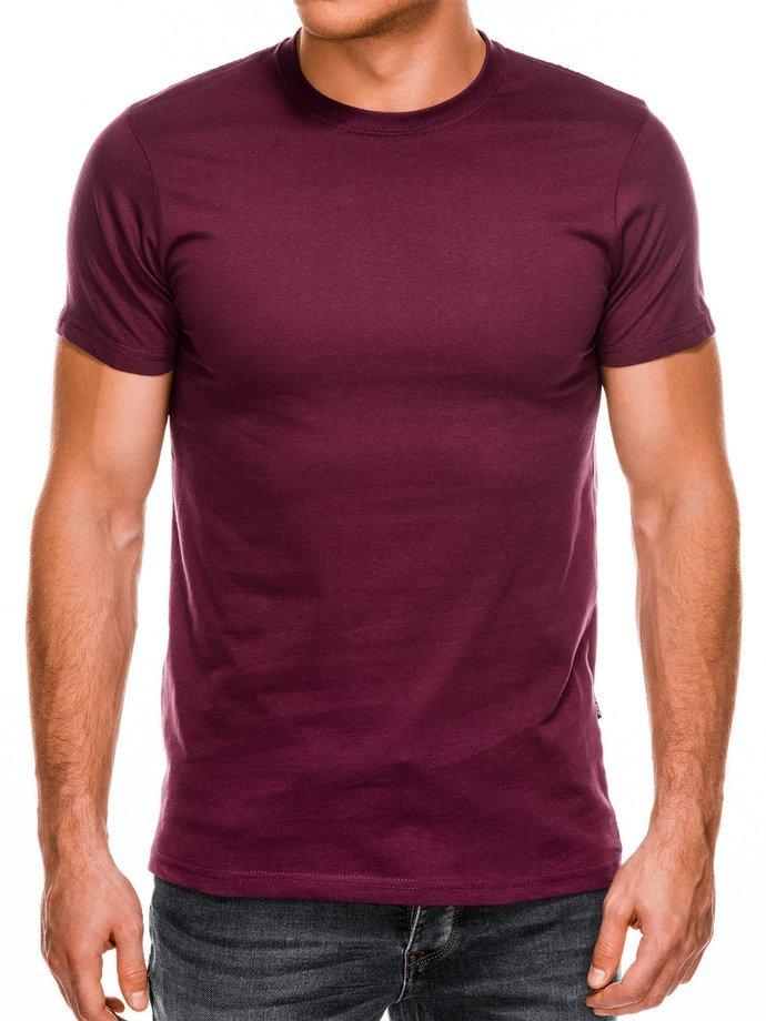 T-shirt męski beznadruku S884 - bordowy