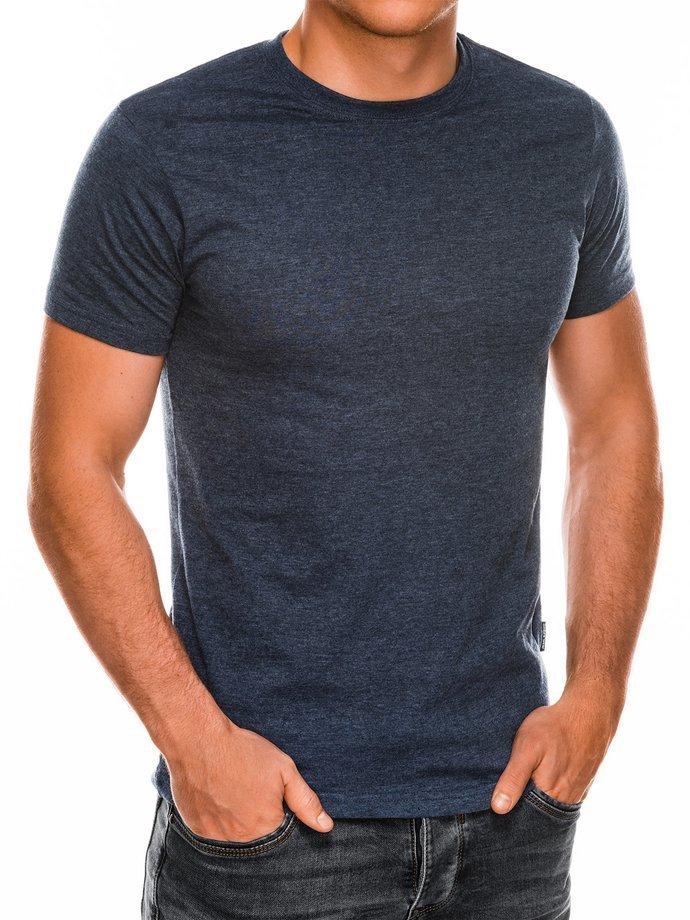 T-shirt męski beznadruku S884 - granat/melanż