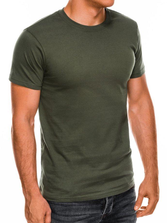 T-shirt męski beznadruku S884 - khaki
